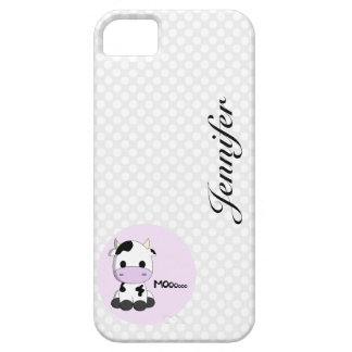 Girly cute cow cartoon customizable girls iPhone 5 covers