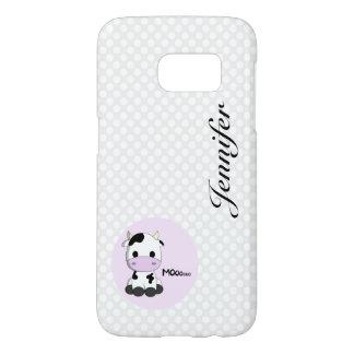 Girly cute cow cartoon customizable Samsung case