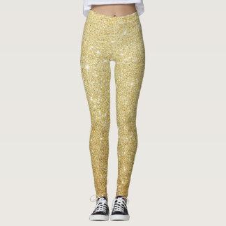 Girly Cute Glittery Faux Gold Leggings