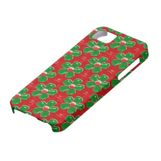 Girly Cute Green and Red Flowers iPhone 5 Case