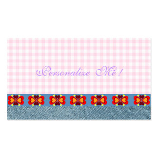 Girly Cute Jeans Denim Hearts Modern Monogram Pink Pack Of Standard Business Cards