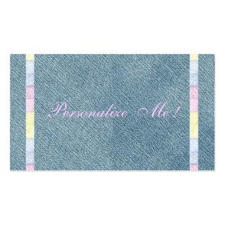 Girly Cute Modern Denim Pink Pastels Wedding Pack Of Standard Business Cards