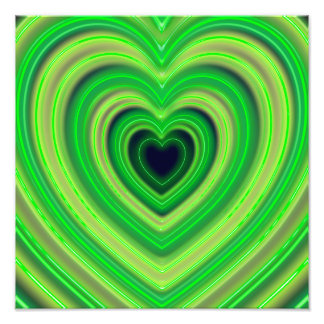 Girly Cute Neon Heart Design Photo Print