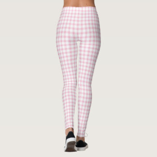 Girly Cute Pastel Pink Gingham Check Pattern Leggings