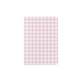 Girly Cute Pastel Pink Gingham Check Pattern Passport Holder