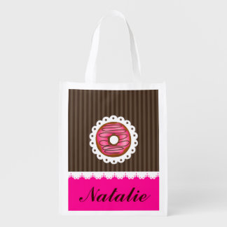 Girly Cute Pink & Brown Donut Personalized Name