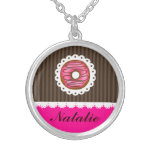 Girly Cute Pink & Brown Doughnut Personalised Name Round Pendant Necklace