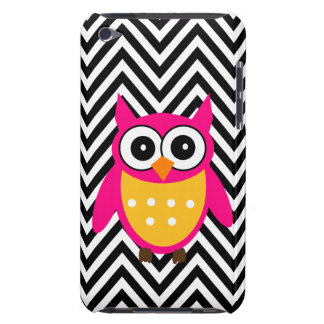 Girly Cute Pink Owl Black Chevron Pattern Barely There iPod Cover