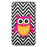 Girly Cute Pink Owl Black Chevron Pattern iPod Touch Cover