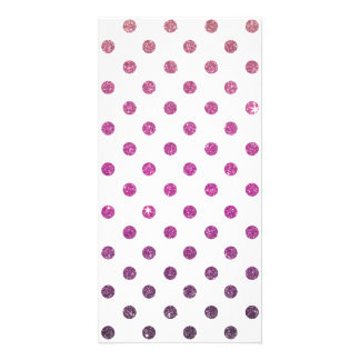 Girly Cute Pink Polka Dots Faux Glitter Personalised Photo Card