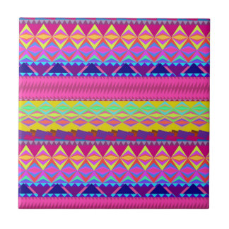 Girly cute trendy aztec andes design small square tile