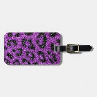 Girly Cute Trendy Purple Glitter Cheetah print Luggage Tag