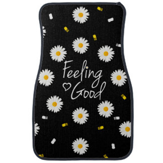 Girly daisy flowers modern typography brushstrokes car mat