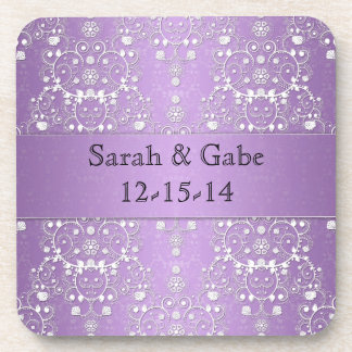 Girly Damask in Lavender and White Coaster