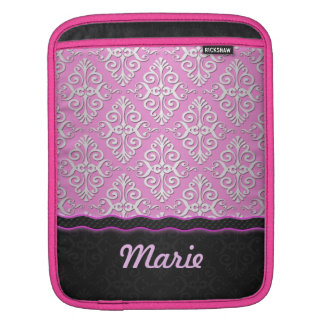 Girly Damask in PInk and Black iPad Sleeves