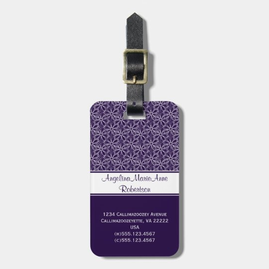 Girly Dark Purple White Floral Luggage Tags