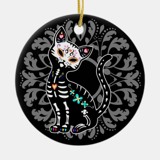 Girly Day of the Dead cute cat custom