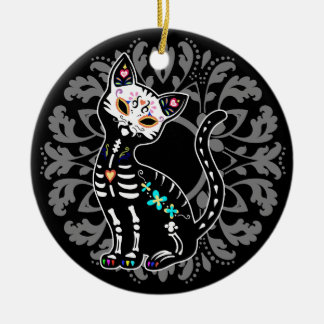 Girly Day of the Dead cute cat custom personalized Christmas Ornament