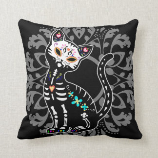 Girly Day of the Dead cute cat custom personalized Cushion