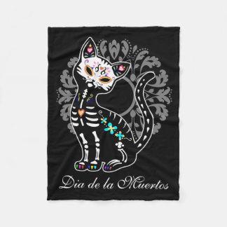 Girly Day of the Dead cute cat Fleece Blanket