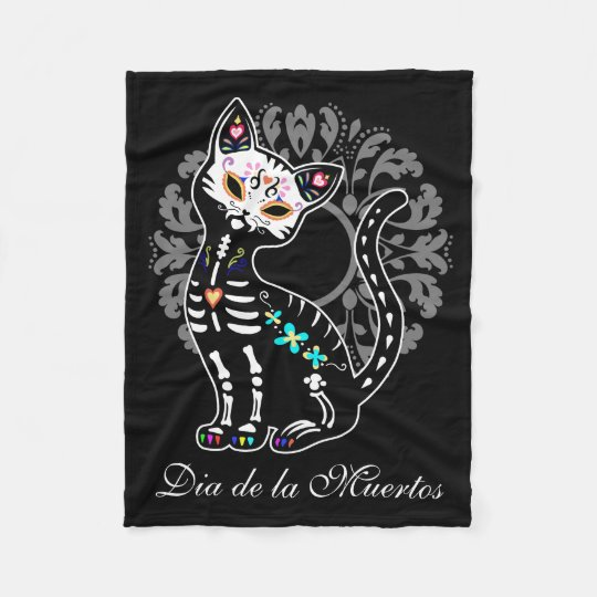 Girly Day of the Dead cute cat Fleece