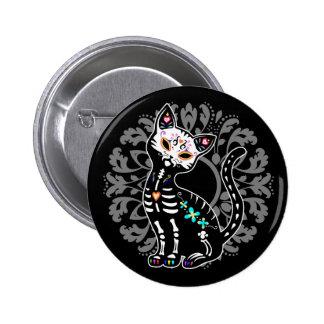 Girly Day of the Dead cute skeleton cat custom 6 Cm Round Badge