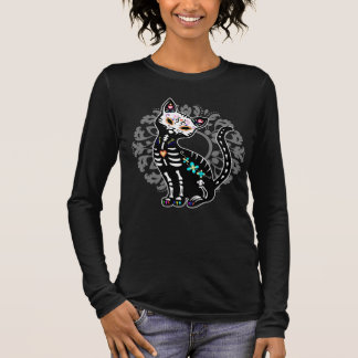 Girly Day of the Dead cute skeleton cat custom Long Sleeve T-Shirt