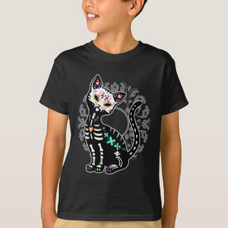 Girly Day of the Dead cute skeleton cat custom T-Shirt