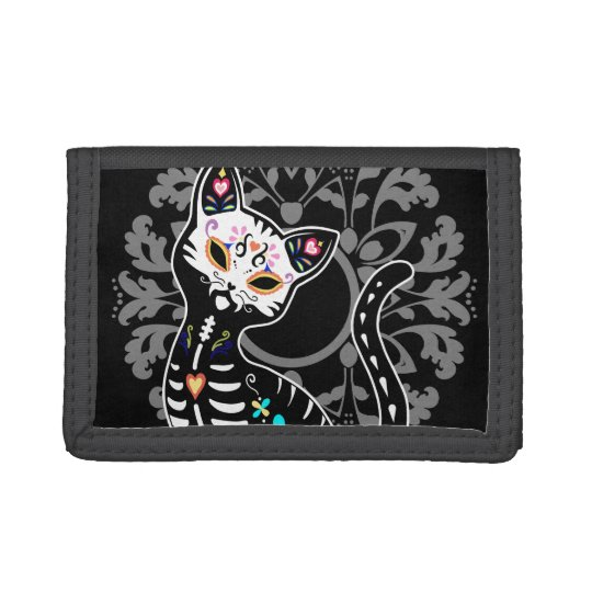 Girly Day of the Dead cute skeleton cat