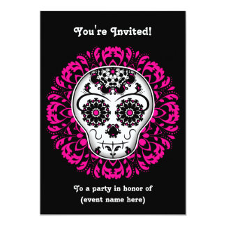 Girly day of the dead sugar skull 5x7 party card