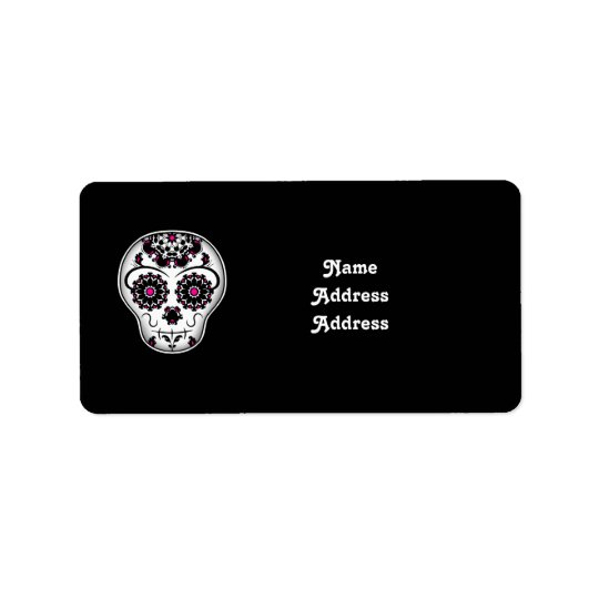 Girly day of the dead sugar skull address label