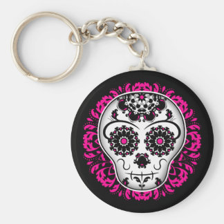 Girly day of the dead sugar skull basic round button key ring