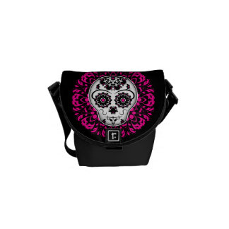 Girly day of the dead sugar skull commuter bags