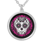 Girly day of the dead sugar skull custom jewelry