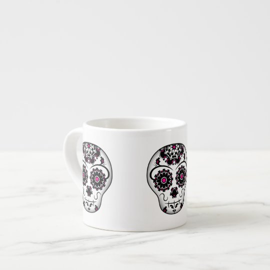 Girly day of the dead sugar skull espresso