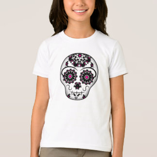 Girly day of the dead sugar skull for kids t shirts