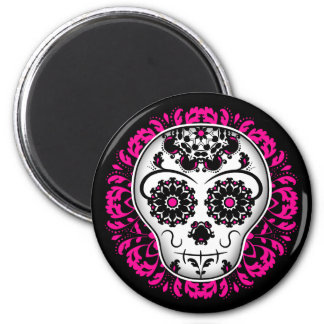 Girly day of the dead sugar skull magnet