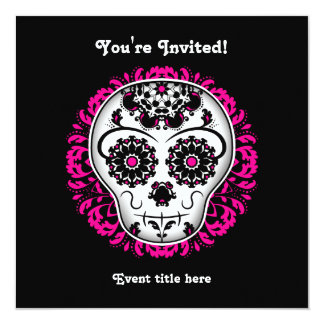 Girly day of the dead sugar skull party card