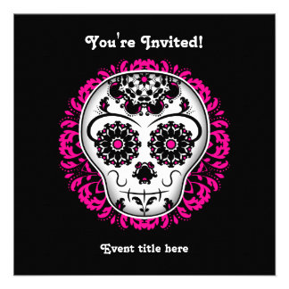 Girly day of the dead sugar skull party invite