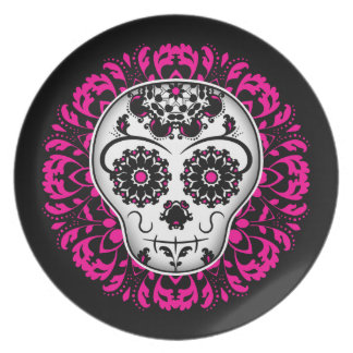 Girly day of the dead sugar skull plate