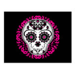 Girly day of the dead sugar skull postcard