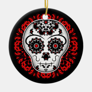 Girly day of the dead sugar skull red and black christmas ornament