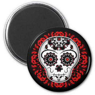 Girly day of the dead sugar skull red and black magnet