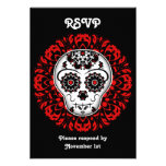 Girly day of the dead sugar skull RSVP party red Personalized Invite