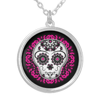 Girly day of the dead sugar skull silver plated necklace
