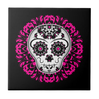 Girly day of the dead sugar skull tile