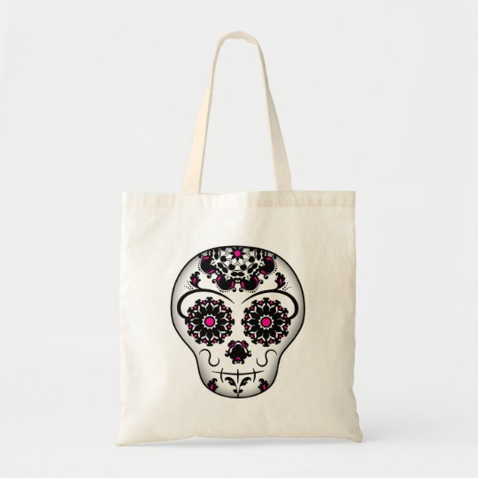 Girly day of the dead sugar skull tote