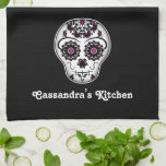 Girly day of the dead sugar skull towel