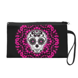 Girly day of the dead sugar skull wristlet