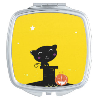 Girly designers mirror : with black Kitten Travel Mirrors